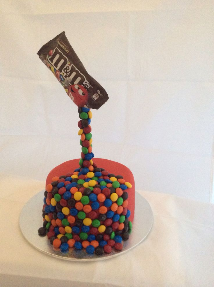 """The good old m&m cake. This one made a great small birthday cake. I made a larger version to raffle off at a school trivia nite fundraiser. The theme of the night was """"M""""."""