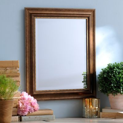 Champagne Classic Framed Mirror, 22x26 | Kirklands Mount above a desk and hang lights above it for a vanity.