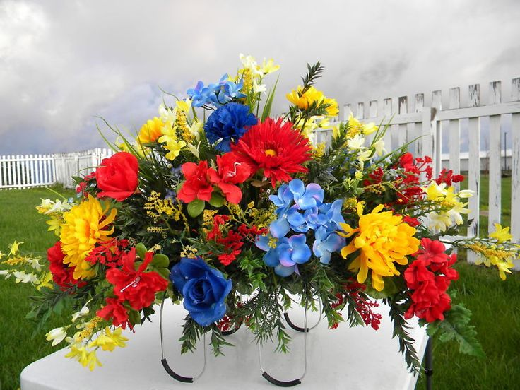 Headstone Fathers Day Grave Memorial Day Silk Flowers