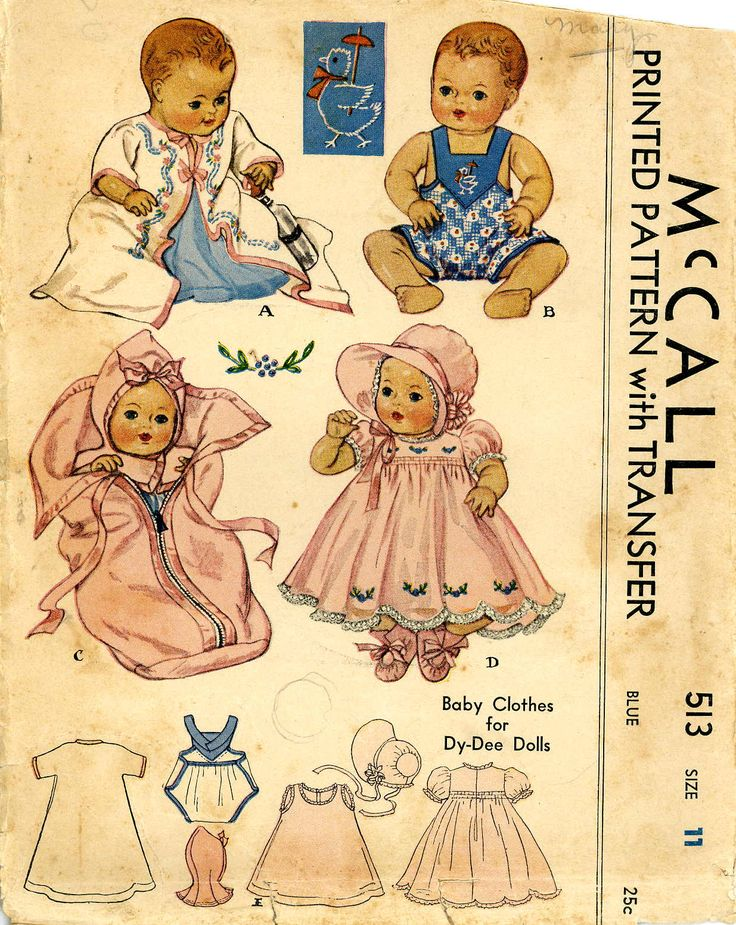 Vintage Doll Clothes PATTERN McCall 513 for Dy Dee doll by Effanbee an 11 inch doll. Dated 1930s.