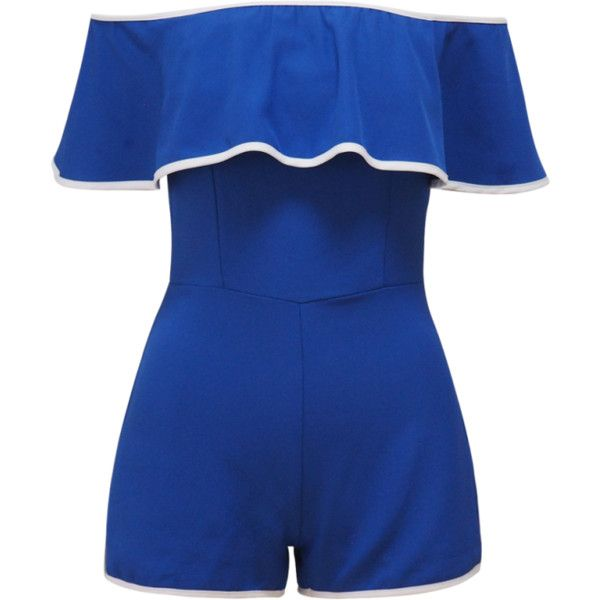 Off The Shoulder Ruffles Romper Blue ($26) ❤ liked on Polyvore featuring jumpsuits, rompers, ruffled rompers, off shoulder romper, flounce romper, playsuit romper and blue rompers
