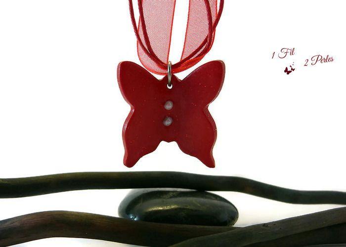 Collier Pendentif Papillon Rouge à paillettes : Pendentif par 1-fil-2-perles