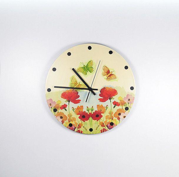 Uhren - Schallplattenuhr Blumenwiese - ein Designerstück von Zauberholz-Berlin bei DaWanda