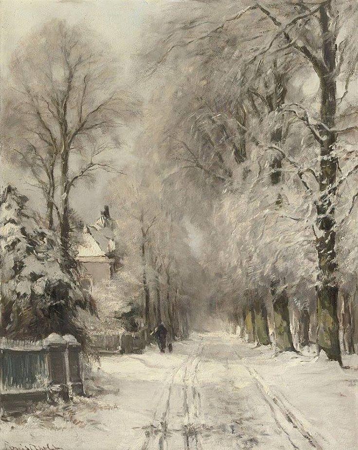 """Wandering along a snowy lane"" (1909) By Louis Apol, Dutch Artist (1850-1936)  oil on canvas; 69.5 x 54.5 cm © Sold through Christie's, Amsterdam. October 14, 2008 19th Century European Art http://www.christies.com/"