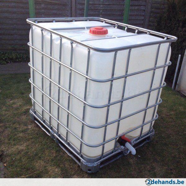 IBC container/ regenton / regenvat gereinigd ideaal voor de opvang van regenwater met afsluitkraan 1000L GSM 0475234271