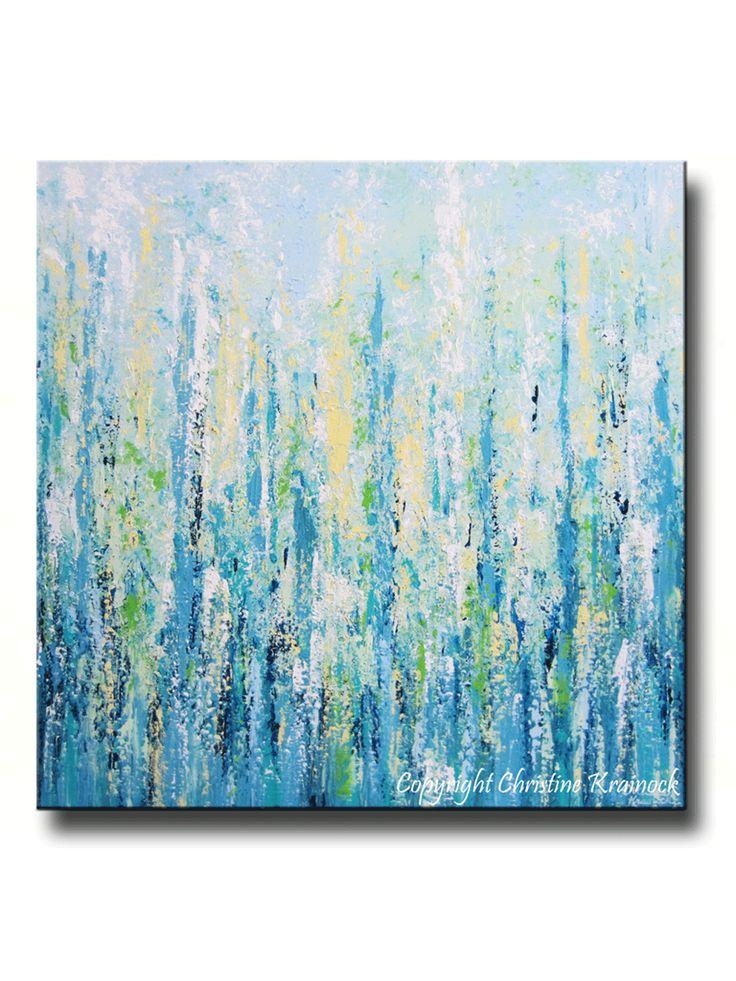 "ORIGINAL Art XL Abstract Painting Blue Aqua Textured LARGE Contemporary Canvas Wall Art Green Yellow Beach Wall Decor 36x36"" -Christine"