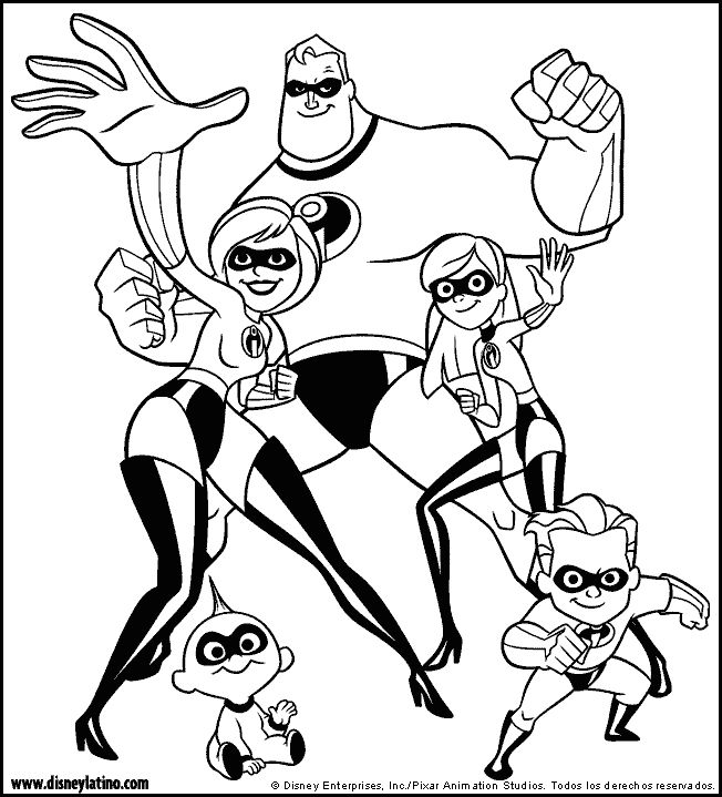 The Incredibles color page, disney coloring pages, color