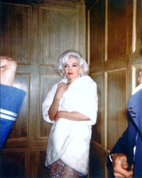 Marilyn Monroe in an elevator on her way to JFK's birthday party, May 19, 1962