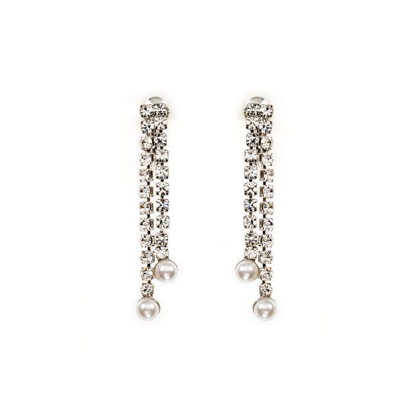 Two-Strand Rhinestone Drop Earrings