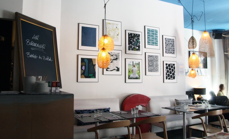 Framed printed fabrics from the online store Oiva.fr in the organic restaurant Bioboa in Paris.
