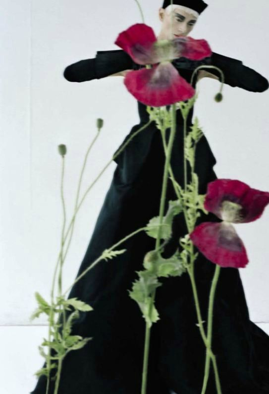 """""""Black and Roses"""" Kristen McMenamy by Tim Walker for Vogue Italia October 2012."""