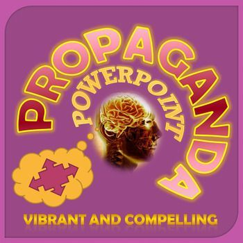 Microsoft PowerPoint.  This presentation consists of 45 slides depicting the various forms of propaganda including Bandwagon, Loaded Words, Testimonials, Plain Folk, Name-calling, Glittering Generalizations Transfer, and Card-stacking.  Each form is illustrated with several examples on two slides.