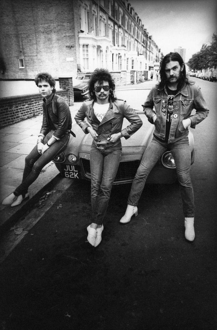 Motörhead en 1983 à Londres: Brian Robertson, Phil Taylor et Lemmy Kilmister.