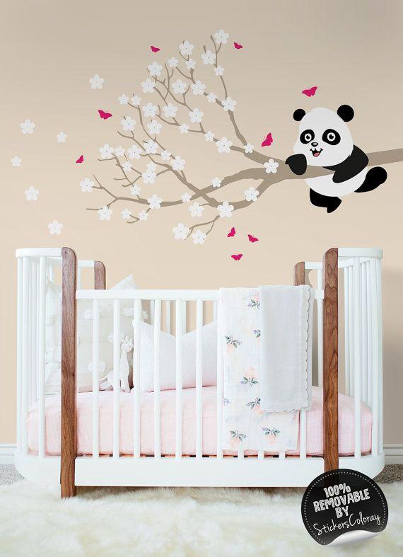 Cute pandas wall decal, Peel and Stick, Panda bears on sakura trees wall decor, Removable, Nursery wall decal, Wall sticker #2