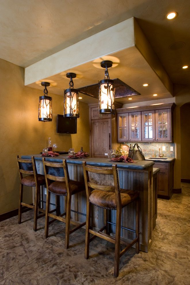 Basement Bar Design Ideas small basement bar design ideas Basement Bar Cabinets Home Bar Rustic With Concrete Floor Panel Refrigerator