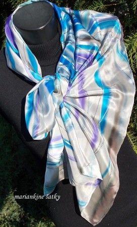 hodvábny šál OHŇOSTROJ - luxusný crepe de chine, rozmer 150x40cm, cena:35,-€, ihneď k odberu