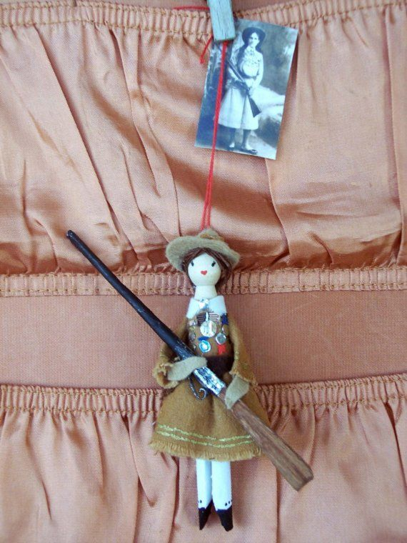 Annie Oakley Clothespin Doll by Hoopdeeloo on Etsy