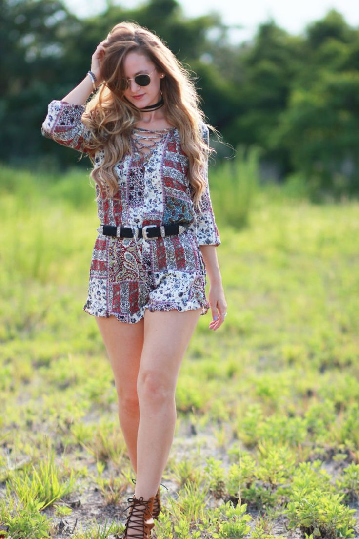 Orlando Florida fashion blog styles American Eagle romper, lace up booties…