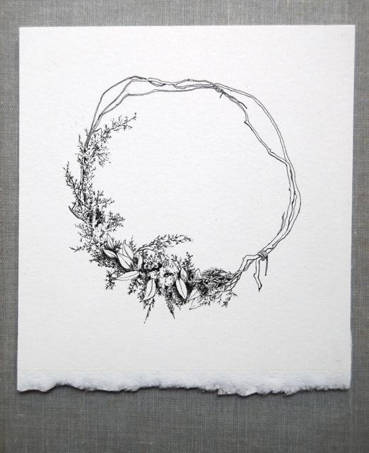 Floral Drawing summer wreath by spencerstudioshop on Etsy