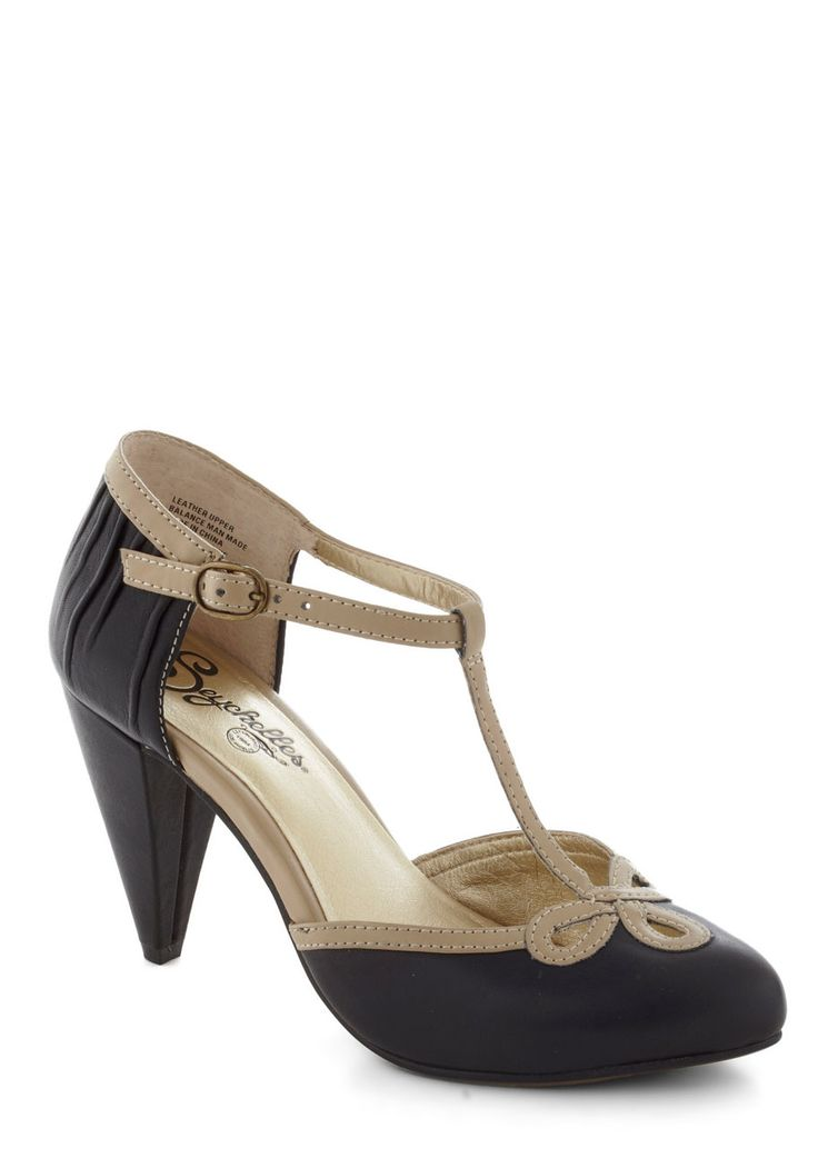 All Dressed Up Heel in Black - Leather, Mid, Black, Tan / Cream, Solid, Cutout, Trim, Vintage Inspired, 20s, 30s, Variation