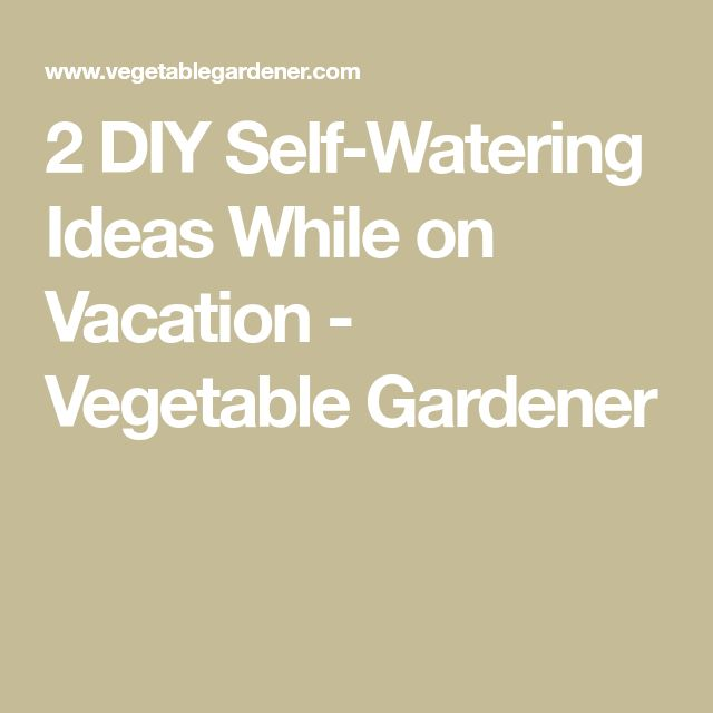2 DIY Self-Watering Ideas While on Vacation - Vegetable Gardener