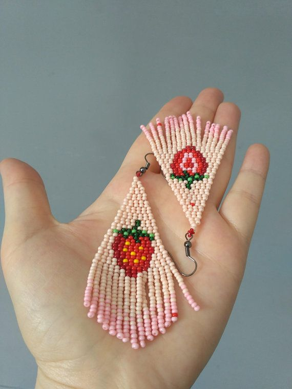 FREE SHIPPING/Strawberry earrings.Long beaded earringsBead