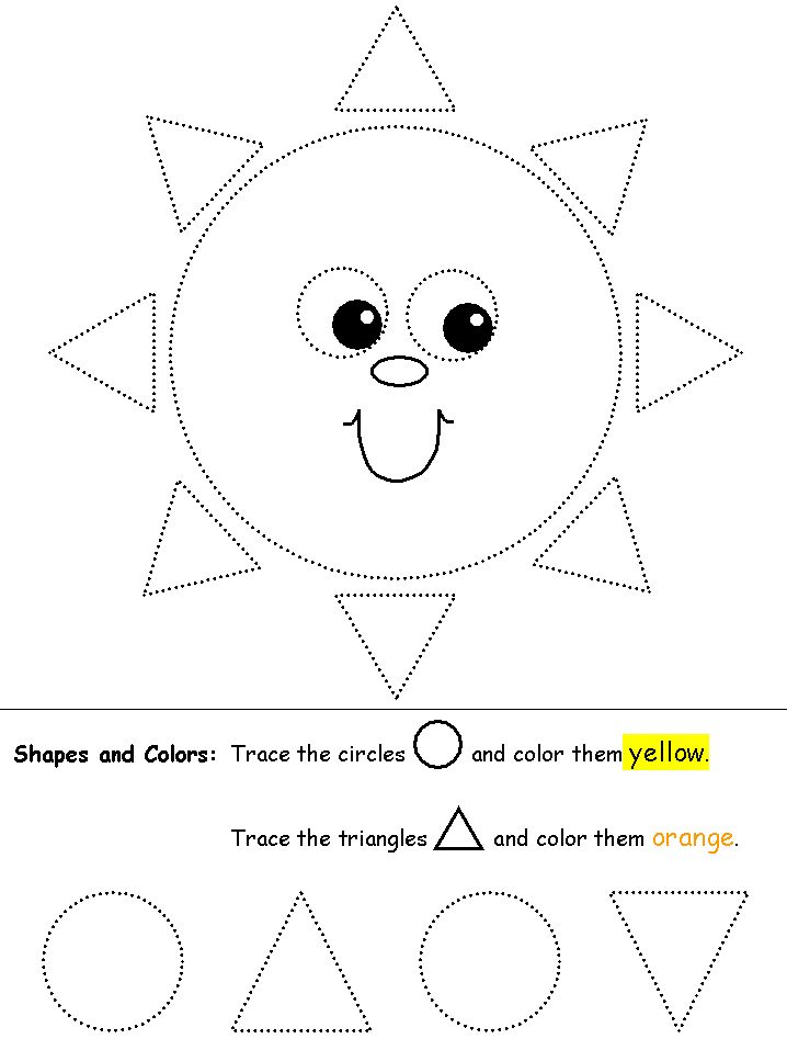 tracing circles & triangles. website has lots of tracing