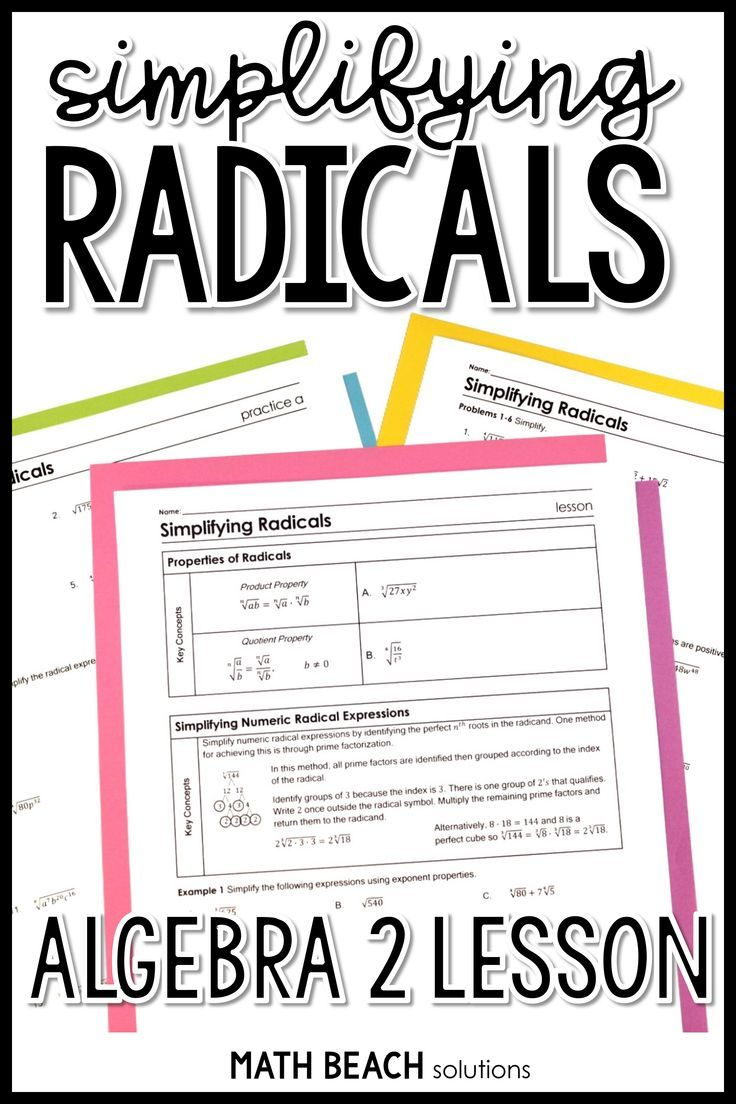 This Lesson On Simplifying Radicals Reviews Simplifying Numeric Radical Expressions An Simplifying Radicals Simplifying Radical Expressions Radical Expressions