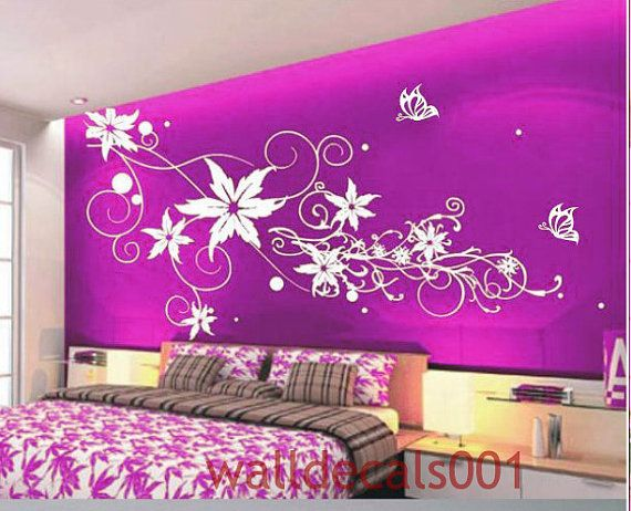 Best 25 flower wall decals ideas on pinterest flower for Mural art designs for bedroom