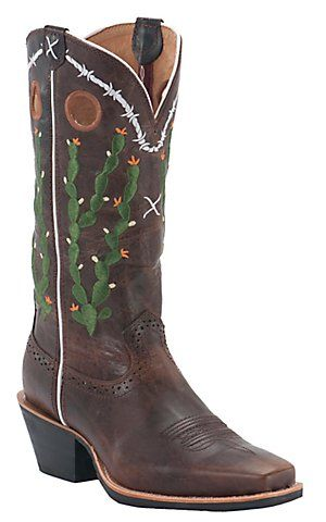 Twisted X Ladies Green Cactus Embroidery Square Toe Boots