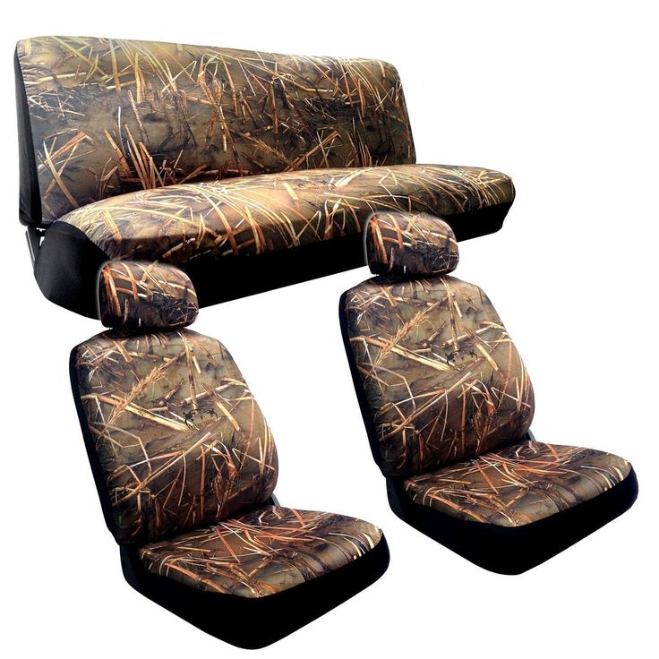 Unique Muddy Water Camo (Green) Seat Covers 2 Front Seats Rear Bench Duck Hunting Cam (Color)