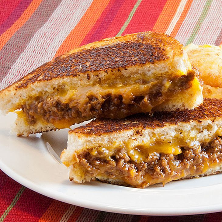 Sloppy Grilled Cheese Sandwiches Recipe Lunch and Snacks, Main Dishes with ground beef, chopped onion, prepared mustard, ketchup, brown sugar, white bread, butter, shredded cheddar cheese