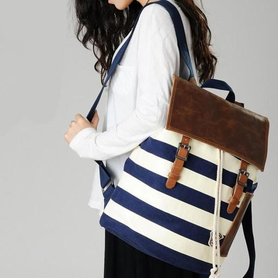 Feature: Stripe Print  Style:Leisure/Navy Style  Fashion Element: Canvas  Color: Blue & White  Size: Width:36CM(14.17 ) Heigth: 43CM(16.93 ) Thickness: 16CM(6.30 )  Material: Cotton Canvas/PU  Exterior Construction: Top handle. Adjustable strap. Flod over flap with magnetic snap clousure. Drawstring closure. Side patch PU pocket.  Interior Construction: Three compartments. One zippered patch pocket and one zippered interlayer pocket. It is made of high quality material that thi...