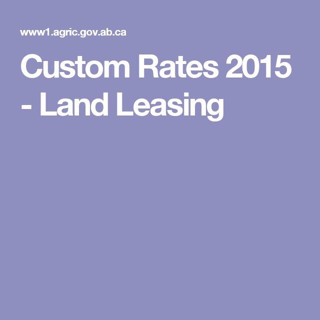 Custom Rates 2015 - Land Leasing