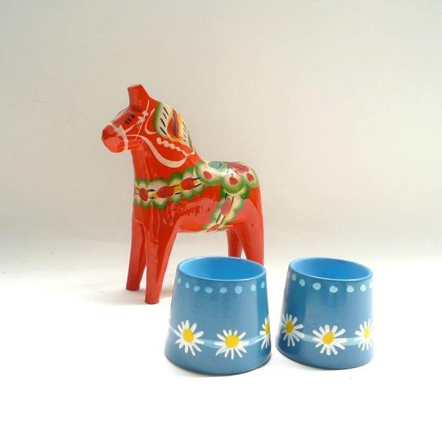 2 Danish Painted Egg Cups Helen & Mogens Lyholmer. $20.00, via Etsy.