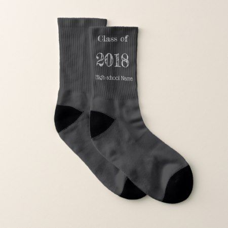 Class of 2018 -chalkboard style socks - tap, personalize, buy right now!
