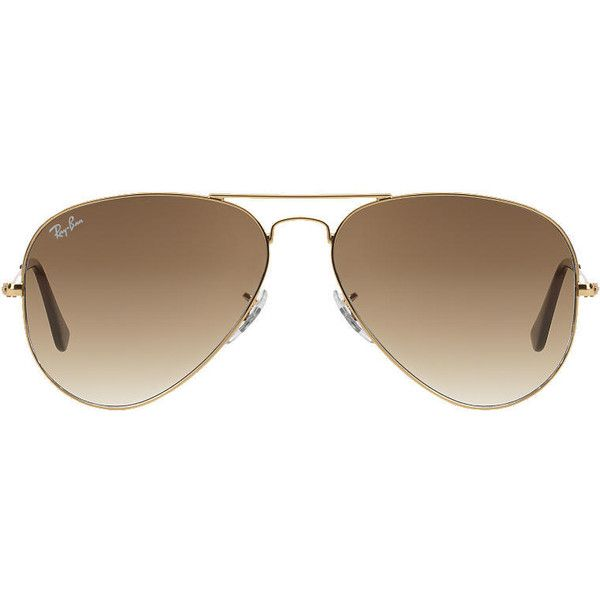 Ray-Ban Rb3025 62 Original Aviator Gold Sunglasses (£110) ❤ liked on Polyvore featuring accessories, eyewear, sunglasses, glasses, acc, ray-ban, ray ban aviator, ray ban sunglasses, gold glasses and aviator eyewear