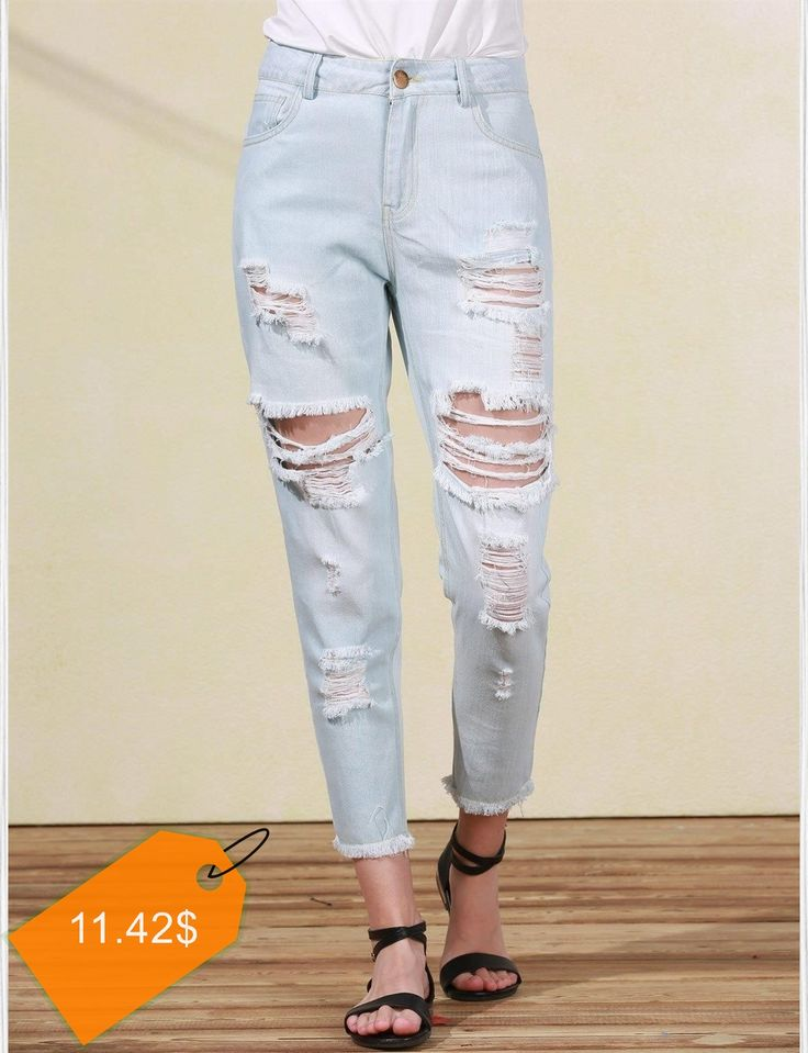 Trendy Bleach Wash Frayed Ripped Jeans For Women