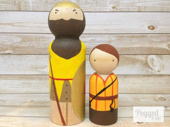 Recreate a pivotal Old Testament battle with your own set of David and Goliath peg dolls. David comes equipped with his sling and stones, and