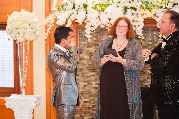 Grooms crying during ceremony | Minnesota Elegant Manor Gay Wedding | Equally Wed - LGBTQ Weddings