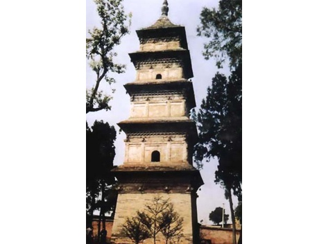 Xuanzang Tomb Pagoda (玄奘墓塔) is situated in Xingjiao Temple (兴教寺) in Chang'an County in the southern suburbs of Xi'an. It was built in 669 during the Tang Dynasty to bury Buddhist priest Xuanzang's remains. In 828 AD, it was rebuilt as it is today.  The five-storey brick pagoda has a square ground plan, with each side of the first storey, 5.2 meters wide. The pagoda tapers sharply, making it very steady.  At 21 meters high, it is a fairly big tomb pagoda, since Xuanzang was an eminent monk.: Square Ground, Xingjiao Temple, Temple 兴教寺, Brick Pagoda, Five Storey Brick, Bury Buddhist