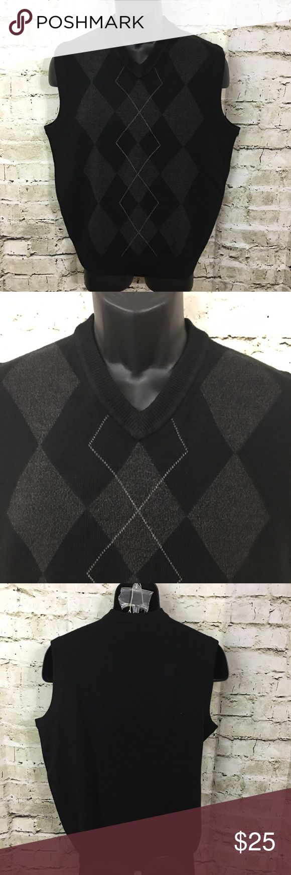"Dockers Black/ Gray Argyle Sweater Best Size Med This is a Men's Dockers Black/ Gray Argyle Sweater Vest Shirt Size Medium. The measurements are as followed: Arm Pit to Arm Pit: 21"" Shoulder to Hemm: 25"" This shirt is still in excellent gently used condition. Please take a look at all photos for condition and if you have any questions feel free to ask. Dockers Sweaters V-Neck"