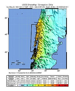 The 1960 Valdivia earthquake or Great Chilean Earthquake (Spanish: Terremoto de Valdivia/Gran terremoto de Chile) of Sunday, 22 May 1960 is to date the most powerful earthquake ever recorded on Earth, rating 9.5 on the moment magnitude scale. It occurred in the afternoon (19:11 GMT, 15:11 local time) and its resulting tsunami affected southern Chile, Hawaii, Japan, the Philippines, eastern New Zealand, southeast Australia, and the Aleutian Islands in Alaska.