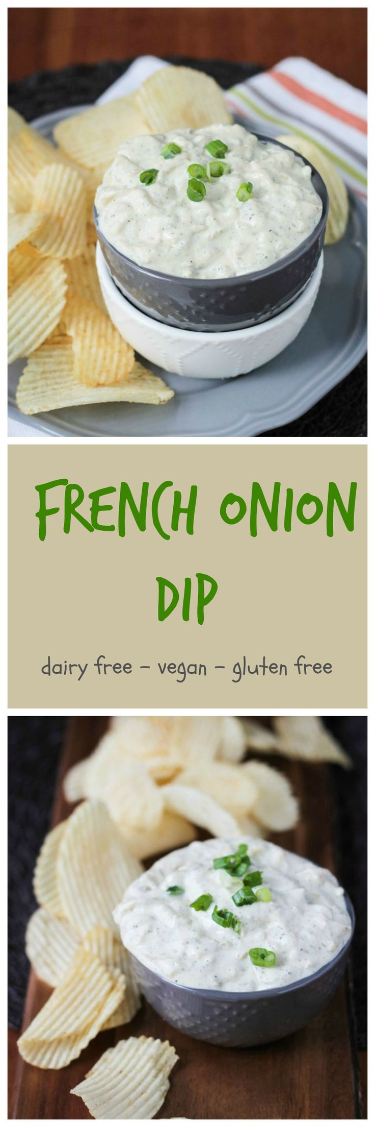 Vegan French Onion Dip w/ Dill - two of my favorite dips combined and made with all real whole food plant based ingredients. There are 2 whole onions in there - you won't find that in the processed store bought version! Grab some chips, raw veggies or crackers and dig in to cure your munchies. Perfect for game day or anytime a snack craving sneaks up on you.