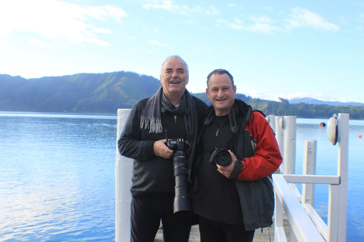 Lodge co-Owner Murray and Simon Woolf pose on the jetty