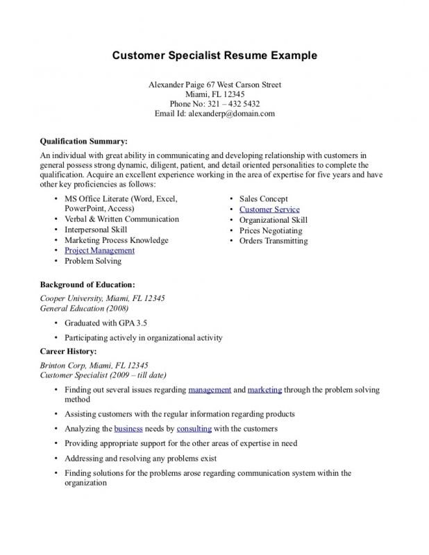 resume professional summary examples customer service how write - customer specialist resume