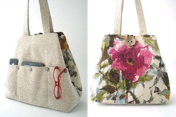 large floral tote bag pink bag shoulder bag beige by daphnenen