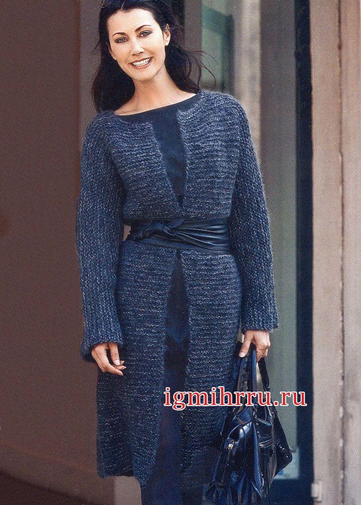 Темное меланжевое пальто с цельновязаными рукавами. Вязание спицами