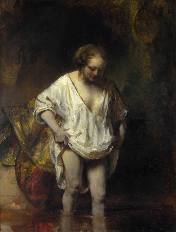 Rembrandt - A Woman Bathing in a Stream [1654]