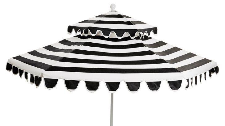 Daiana Patio Umbrella, White/Black Sunbrella - Umbrellas & Stands - Outdoor Furniture - Outdoor | One Kings Lane
